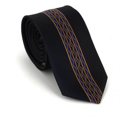 Corbata Estrecha Dibujo Vertical Negra