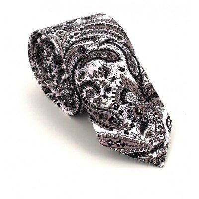 Corbata Estrecha Paisley Negra y Blanca