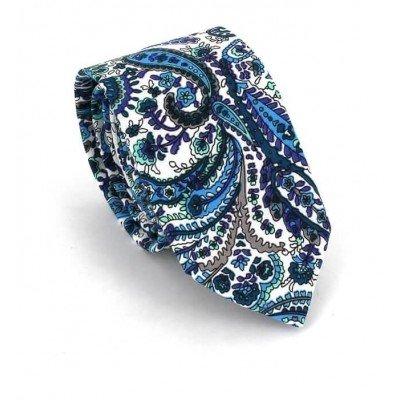 Corbata Estrecha Paisley Blanca y Azul