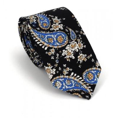 Corbata Estrecha Paisley Negra y Azul