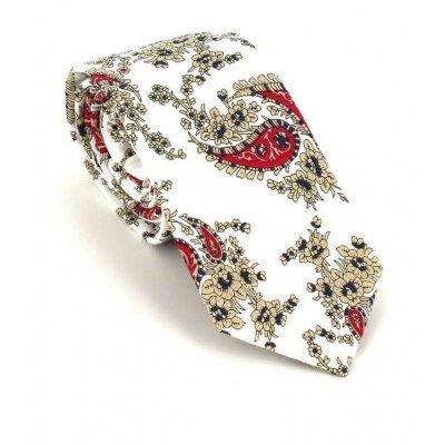 Corbata Estrecha Paisley Blanca y Roja