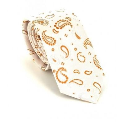 Corbata Estrecha Paisley Blanca