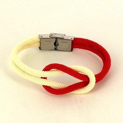 Pulsera Nudo Blanco y Rojo