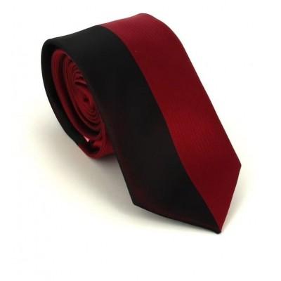 Corbata Estrecha Moderna Negra y Burdeos