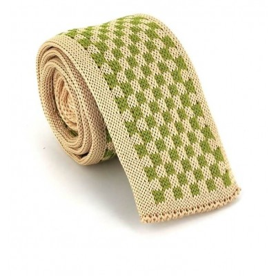 Corbata Punto Cuadros Beige y Verde