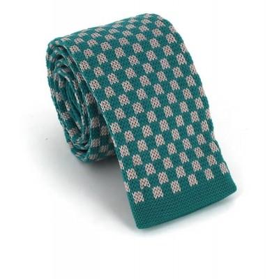 Corbata Punto Cuadros Azul Turquesa y Gris