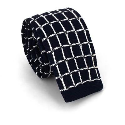 Corbata Punto Cuadros Azul Oscuro y Blanca