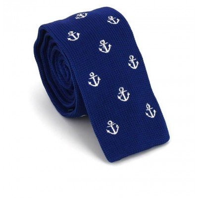 Corbata Punto Anclas Azul Marino
