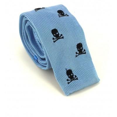 Corbata Punto Calaveras Azul Celeste