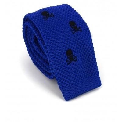 Corbata Punto Calaveras Azul