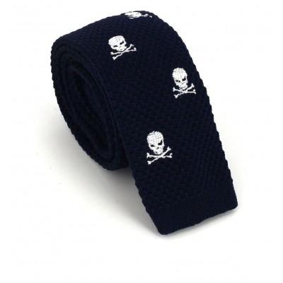 Corbata Punto Calaveras Azul Oscuro