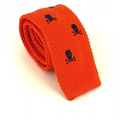 Corbata Punto Calaveras Naranja