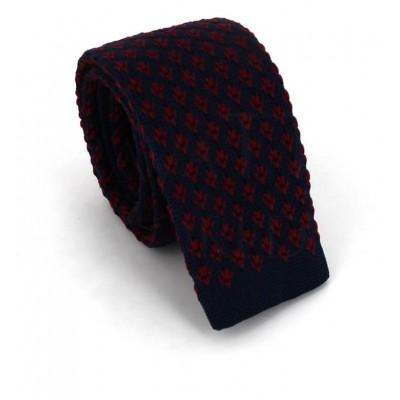 Corbata Punto Estampada Azul y Granate