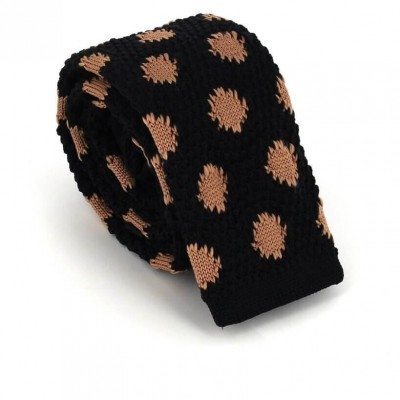 Corbata Punto Estampada Negra con Remiendos