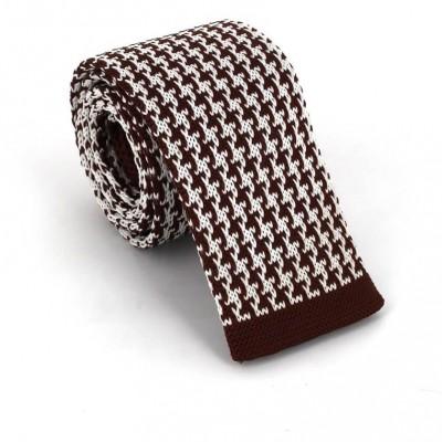 Corbata Punto Estampada Marrón y Blanca