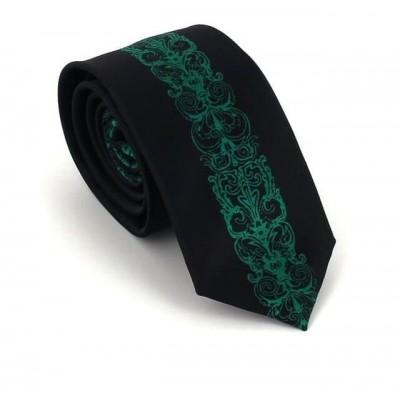 Corbata Estrecha Cenefa Vertical Negra